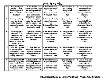 Teach 5 First 9 Weeks Packet ~ Third Grade Common Core