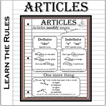 ARTICLES- 7 Printable Worksheets Grammar Rules and Practice. A, AN, THE