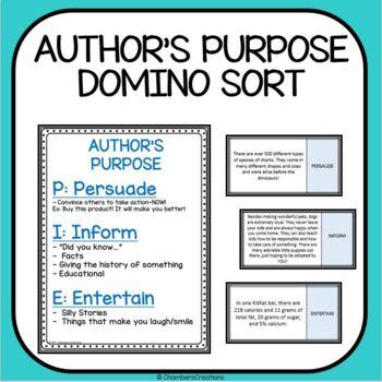 Author's Purpose PIE Dominoe Matching Game!