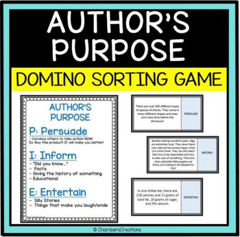 Author's Purpose PIE Dominoe Matching Game!
