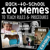 100 Classroom Rules Memes EDITABLE- Back to School Icebrea