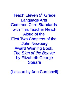 Teach Common Core Standards with a Read Aloud from The Sign of the Beaver