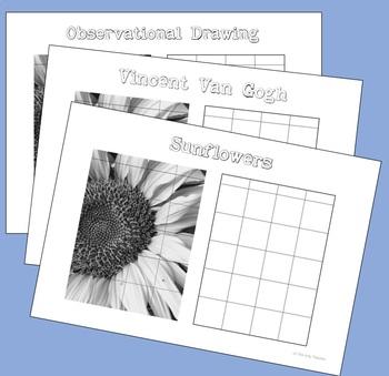 Teach Drawing -  Sunflower Grid Drawing