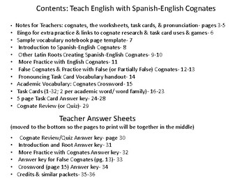Teach English with Spanish-English Cognates: Examples, Practice, & Games