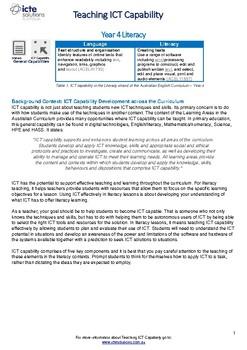 Teach ICT Capability in Year 4 Literacy