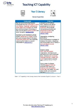 Teach ICT Capability in Year 5 Literacy
