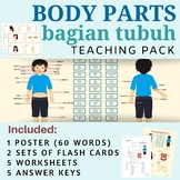 60 Body Parts Indonesian (Poster, Flash Cards, Worksheets)