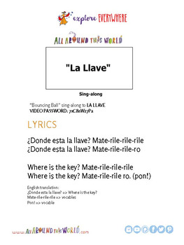 "Teach Kids About South America -- Let's Sing ""La Llave"" -- All Around This World"