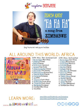 """Teach Kids About Zimbabwe -- Let's Sing """"Ha Ha Ha"""" -- All Around This World"""