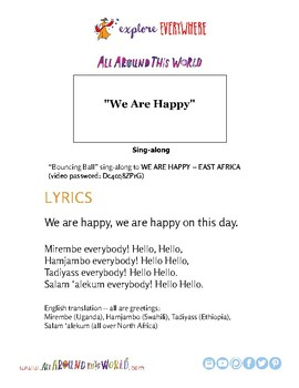 """Teach Kids about East Africa -- Sing """"We Are Happy"""" -- All Around This World"""