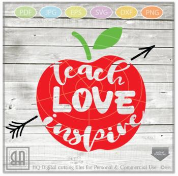 48d81c48 Teach Love Inspire SVG - Teacher svg - Teach svg - School Svg - teacher gift