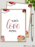 Teach Love Inspire Binder Cover, size A4