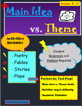 Theme and Main Idea Activities- Teaching with Poetry, Stories, Fables