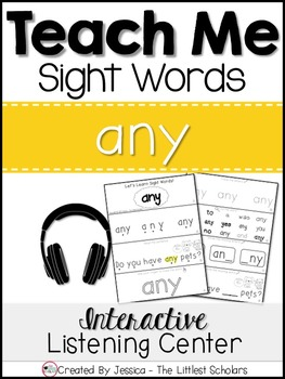 Teach Me Sight Words: ANY [Interactive Center with Printables and Audio]