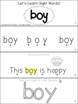 Teach Me Sight Words: BOY [Interactive Center with Printables and Audio]