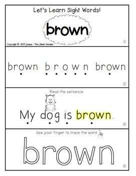 Teach Me Sight Words: BROWN [Interactive Center with Printables and Audio]