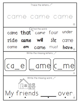 Teach Me Sight Words: CAME [Interactive Center with Printables and Audio]