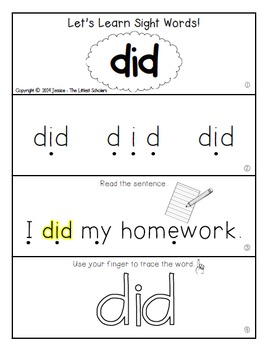 Teach Me Sight Words: DID [Interactive Center with Printables and Audio]