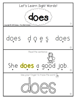 Teach Me Sight Words: DOES [Interactive Center with Printables and Audio]
