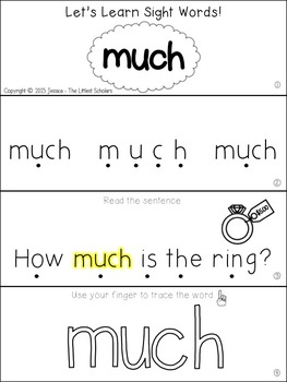 Teach Me Sight Words: MUCH [Interactive Center with Printables and Audio]