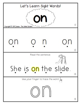 Teach Me Sight Words: ON [Interactive Center with Printables and Audio]