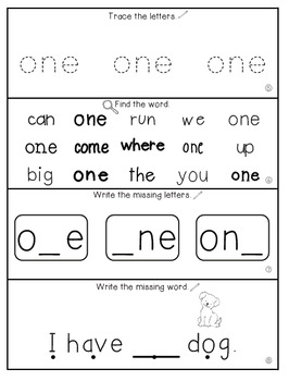 Teach Me Sight Words: ONE [Interactive Center with Printables and Audio]