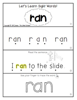 Teach Me Sight Words: RAN [Interactive Center with Printables and Audio]