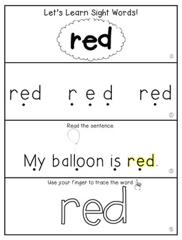 Teach Me Sight Words: RED [Interactive Center with Printables and Audio]