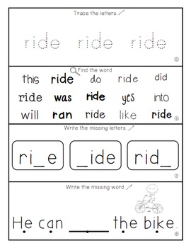 Teach Me Sight Words: RIDE [Interactive Center with Printables and Audio]