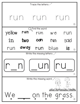 Teach Me Sight Words: RUN [Interactive Center with Printables and Audio]