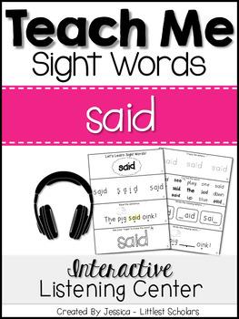 Teach Me Sight Words: SAID [Interactive Center with Printa