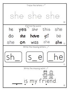 Teach Me Sight Words: SHE [Interactive Center with Printables and Audio]