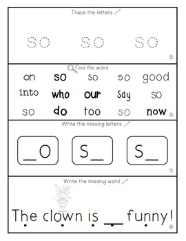 Teach Me Sight Words: SO [Interactive Center with Printables and Audio]