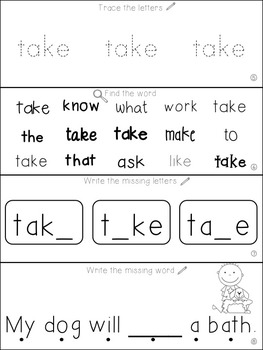 Teach Me Sight Words: TAKE [Interactive Center with Printables and Audio]