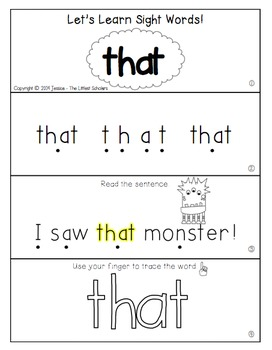 Teach Me Sight Words: THAT [Interactive Center with Printables and Audio]