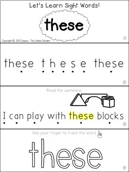 Teach Me Sight Words: THESE [Interactive Center with Printables and Audio]