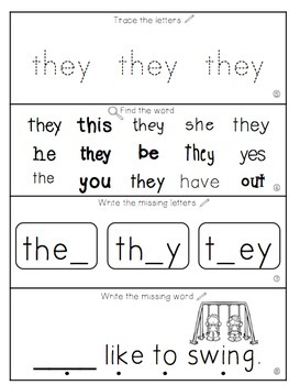 Teach Me Sight Words: THEY [Interactive Center with Printables and Audio]
