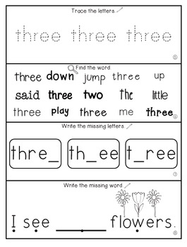 Teach Me Sight Words: THREE [Interactive Center with Printables and Audio]