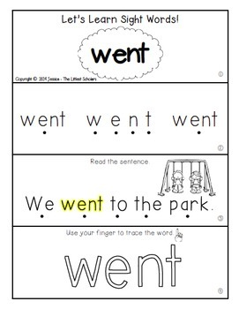 Teach Me Sight Words: WENT [Interactive Center with Printables and Audio]