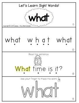Teach Me Sight Words: WHAT [Interactive Center with Printables and Audio]