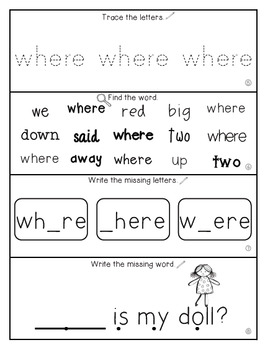 Teach Me Sight Words: WHERE [Interactive Center with Printables and Audio]