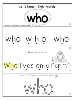 Teach Me Sight Words: WHO [Interactive Center with Printables and Audio]