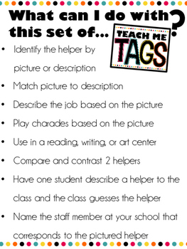 Teach Me Tags: School Helpers