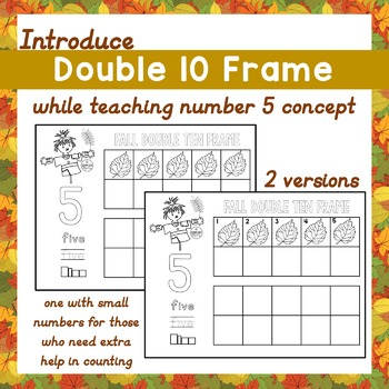 Teach Number 5 Concept w/ Fall Double 10 Frame Counting Le
