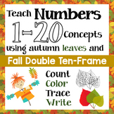 Count Fall Leaves & Teach Numbers 1 - 20 (& zero) Concepts with Double 10 Frame