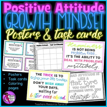 Positive Attitude Growth Mindset Task Cards, Posters and Coloring Pages