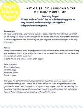 Teach Students HOW to create a Daily Writing Plan