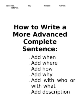 Teach Students to Write Complete Sentences in Their Writing