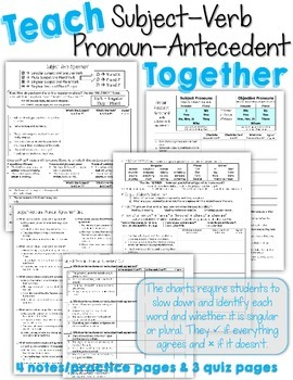 Teach Subject-Verb and Pronoun-Antecedent Agreement TOGETHER! Practice and Quiz