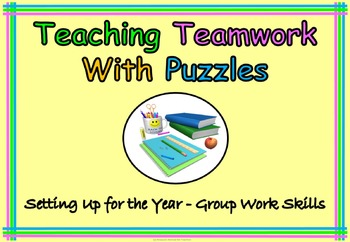 Teach Team work With Puzzles Back to School or End of Year Fun Printables